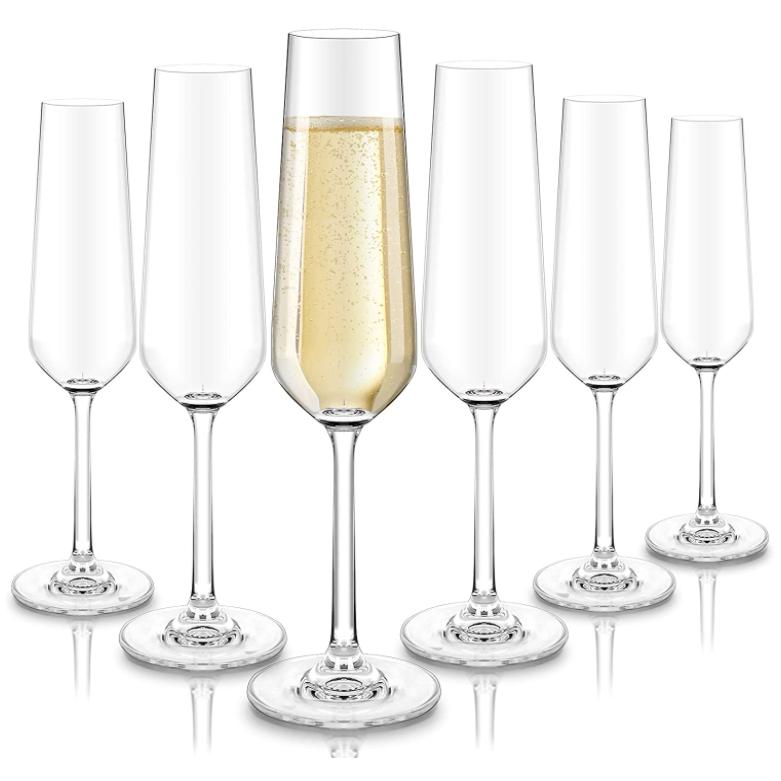 crystal champagne flutes set of 6