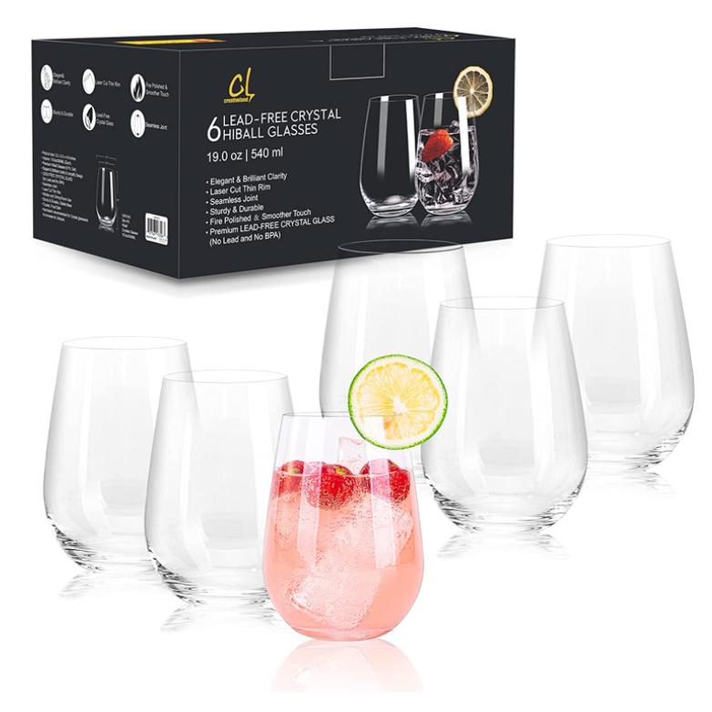crystal highball glasses set of 6