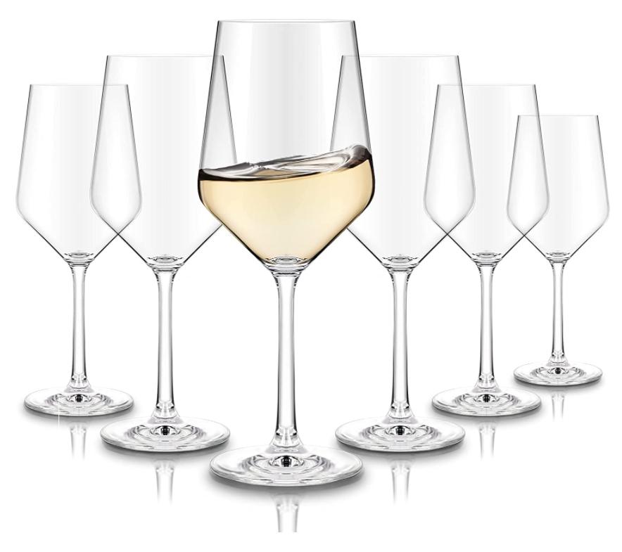 crystal white wine glasses set of 6