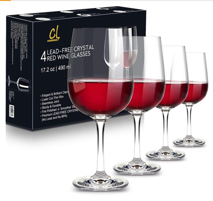 long stem crystal wine glasses set of 4